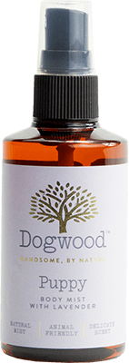A bottle of Dogwood shampoo